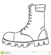 vector sketch illustration high leather army boots side view