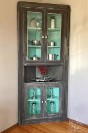 Distressed White Kitchen Hutch Attractive Corner Curio Cabinet Walmart Luxury Glass Display For