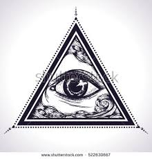 all seeing eye pyramid symbol stock vector 522630667