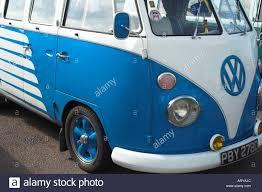 volkswagen van hippie blue a blue and white volkswagen vw type 2 split camper van stock photo