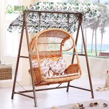 Rattan Swinging Chair Outdoor Patio Garden Steel Rattan Double Two Love Seat Hanging
