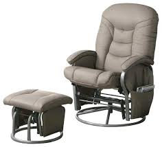 contemporary leather recliner and ottoman set swivel rocker glider