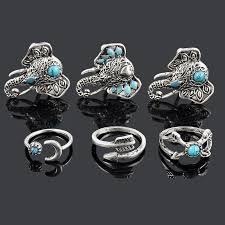 set 6 pcs vintage style blue vintage style 6 elephant ring set or loud