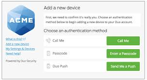 add a new device guide to two factor authentication duo security