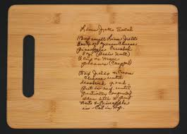 personalized engraved cutting board recipe scanned from s or s handwriting