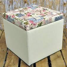 32cm shabby chic floral rose cream fabric covered footstool