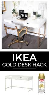 Ikea Dorms White And Gold Desk Ikea Hack Gold Desk Ikea Hack And Desks Ikea