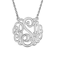 3 initial monogram necklace sterling silver 25mm script monogram necklace in sterling silver 3 initials