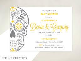 golden sugar skull baby shower invitations citlali creativo llc