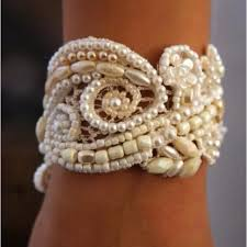 diy pearl bead bracelet images Diy pearl and bead lace bracelet cuff jpg