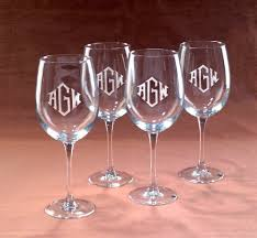 wine glass with initials monogrammed wine glasses sosfund