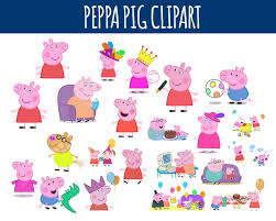 peppa pig decorations set of 22 peppa pig digital cliparts peppa by littlelight on zibbet