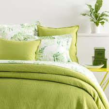 Green Double Duvet Cover Kelly Green Matelassé Coverlet Pine Cone Hill