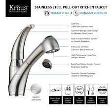 kitchen faucet kraususa com kraus single handle solid stainless steel kitchen faucet with pull out dual function sprayer