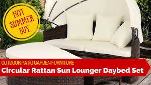 outdoor patio garden rattan weave sun lounger day bed sofa furniture