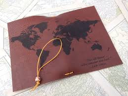 Leather Map Leather Journal Cover Or Leather Passport Cover Custom Leather