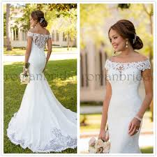 the shoulder wedding dress 2018 amazing white lace wedding gown with trailing shoulder