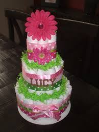 pink and green cake baby shower centerpieces gift