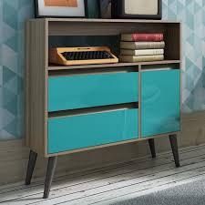 Aqua Table L Manhattan Comfort Gota Single Door Console Table In Oak Aqua Gray