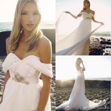 discount chiffon long beach wedding dresses a line off shoulder