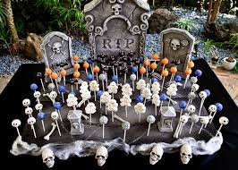 skeleton and skull party ideas cake pop graveyards and bats