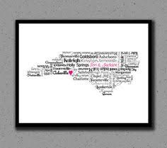 nc state cus map typographic carolina print products and