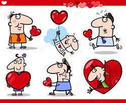cartoon illustration of happy men valentines day or love themes