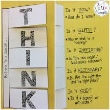 before you speak think activity 3rd grade thoughts