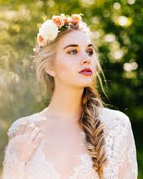stunning bride with fishtail braid and flower crown our favorite
