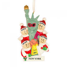 nyc liberty family of 4 personalized ornament