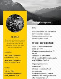 Photography Skills Resume Black And Yellow With Image Photography Photo Resume Templates
