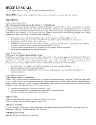 Part Time Job Objective Resume Security Position Resume Sample