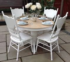 shabby chic extending white round dining table u0026 6 unique chairs