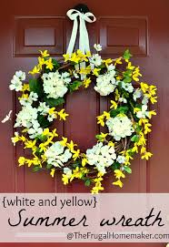 summer wreath white and yellow summer wreath made with yard sale finds