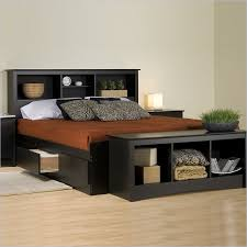 Bookshelf Headboard Plans Bedroom Prepac Sonoma Black Bookcase Platform Storage Bed With
