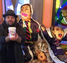 life size voodoo dolls of trump and clinton in seattle asking for
