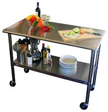 Stainless Steel Top Kitchen Prep Table With Locking Casters - Kitchen prep table stainless steel