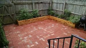 brick patio and cedar planters