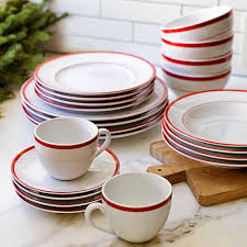 brasserie banded porcelain dinner plates set of 4 williams