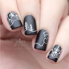chalkboard snowmen white on black matte black nails pine