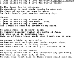 love song lyrics for i just called to say i love you stevie wonder