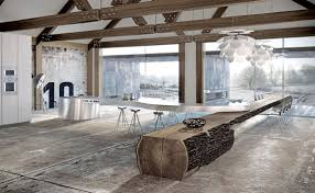 Modernes Esszimmer Eiche Massiv Küche Mit Kochinsel Aus Edelstahl Küchenarbeitsplatte Und Esstisch