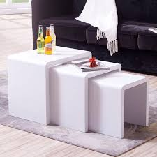 High Gloss Side Table Modern Nest Of 3 Coffee Table High Gloss Side End Table Living