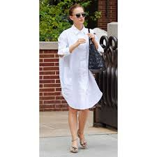celebrity looks for less natalie portman white shirtdress fountainof30