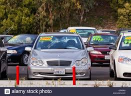 california used for sale mercedes on a used car sales lot california usa stock photo