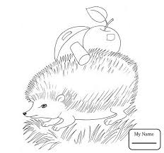 coloring pages hedgehog with apple and mushroom vegetables