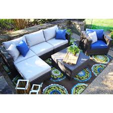 100 Wicker Patio Coffee Table - hanover orleans 4 piece all weather wicker patio fire pit seating