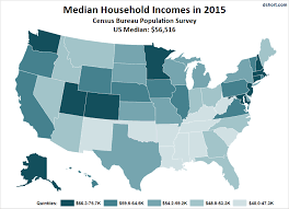 map of us states based on population median household income by state a new look at the data dshort