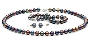 pearls necklace real images Black freshwater pearl jewelry set 7 5 8 0mm jpg