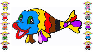 learn color with cute fish coloring page youtube